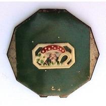Antigua Polvera Decagonal De Chapa Con Aplique