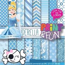 Kit Imprimible Pack Fondos Princesa Cenicienta Clipart