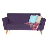 Sofa Sillon 2 Cuerpos 1.60m Premium Diseño Escandinavo Retro Vintage Nordico En Chenille Antidesgarro Patas De Madera