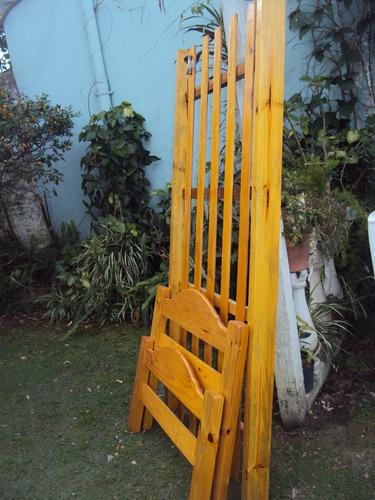 Cama de pino macizo de 1 plaza barnizada impecable for Precio de cama de 1 plaza