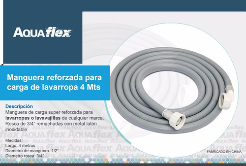 Manguera Flexible Carga Lavarropa 4 Mts Pcl400 Aquaflex