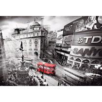 Bus Rojo Ciudad En Tela Canvas Bastidor De 100x70 Cm Exelent