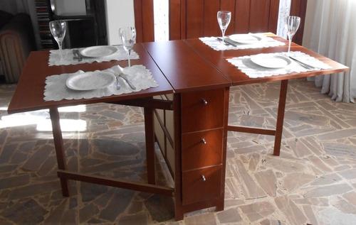 Mesa plegable cocina comedor madera auxiliar melamina a for Mesas de comedor plegables