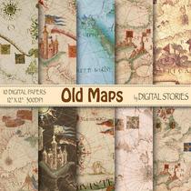Kit Imprimible Old Mapas 10 Fondos.-