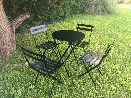 Mesa 2 Sillas Hierro Plegables Bistró Bar Jardín Terraza