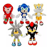 Muñeco Peluche Sonic 30 Cm Amy Shadow Nudillos Silver Tails