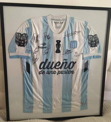 Camiseta De Racing Campeón 2014 Firmada Enmarcada (original ...