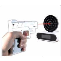 Despertador Tiro Al Blanco Con Arma Reloj-blanco O Negro!!!