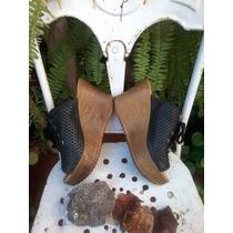 Zapatos Zuecos De Cuero Con Plataforma - Nuevos!moda Verano!