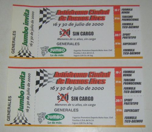 Entrada Antigua Automovilismo Autódromo Caba Julio 2000