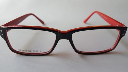 2d5cfb985f Anteojo Armazon Receta Rectangular Negro Y Rojo Resistente