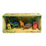 Set X 5 Dinosaurios + Arbol Manymals 10 Cm Aprox