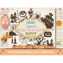Kit Imprimible 16 Png Halloween Noche Brujas Candybar Diseño