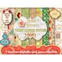 Kit Imprimible 7 Làminas Navidad Fondos + Plantillas Cajas