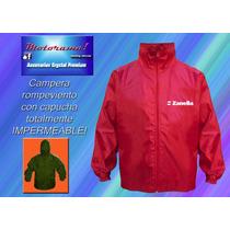 Zanella Logo En Campera-rompeviento Impermeable C/capucha