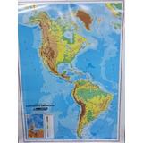 Mapa Mural America Cont. Americano Politico Fisico Doble