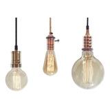 Lampara Colgante Filamento Completa Con Cable Textil Vintage