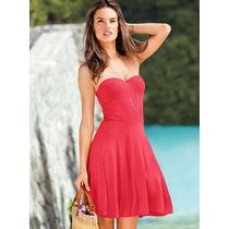 Vestido Coral Strapless Con Push-up M Victoria