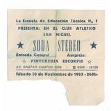 Antigua Entrada Soda Stereo Novimbre De 1985