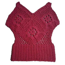 Remera De Hilo Tejida A Crochet Color Coral