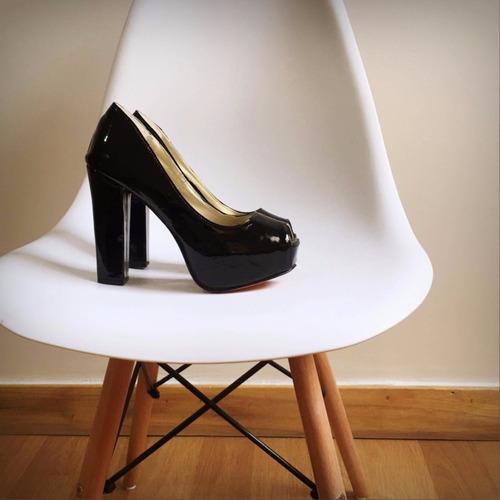 Stilettos Zapatos Taco Palo Acharolado Negro Fiesta ! Nude Y ... a265a3358b57