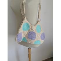 Cartera Tejida Bolso Crochet En Estilo Rústico- Artesanal