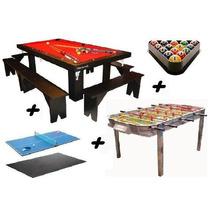 Mesa De Pool + Metegol + Ping Pong + 2 Kits! Yeerom ®