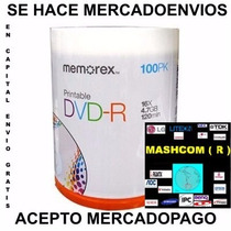 Dvd Memorex -r Bulk X 100 Printable ( Mercadoenvios )