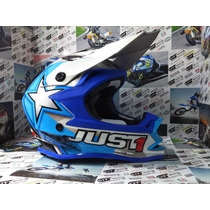 Casco Motocross Just One Star Blue - City Motor