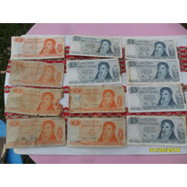 Lote De 12 Antiguos Billetes De Un Peso Y 5 Pesos Ley 18188