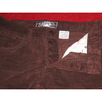 Pantalon De Corderoy Color Chocolate Tiro Medio Con Botones