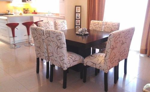 Mesa guatambu wengue 200x90 8 sillas vestidas cuerina 3f for Sillas de tela comedor