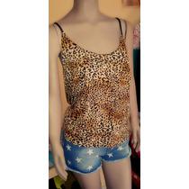 Musculosa Animal Print Leopardo Noche Mujer Remera Exclusiva