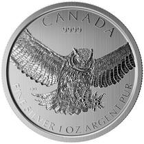 Moneda 1 Onza Plata .999 Canadá Gran Búho 2015
