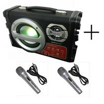 Parlante Portatil Usb Sd Mp3 Bluetooth Karaoke + 2 Microfono