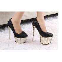Zapato Importado Estileto Plataforma Taco Alto Encaje