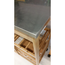 Mesa Mesita Auxiliar Cocina Diseño Importada Madera Y Acero