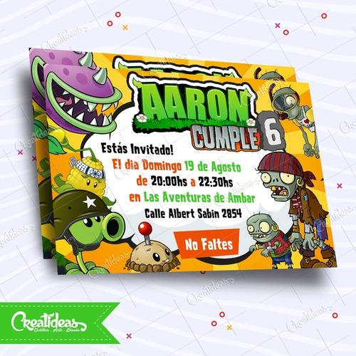 Plantas Vs Zombies Tarjetas Invitaciones Personalizadas Pvz