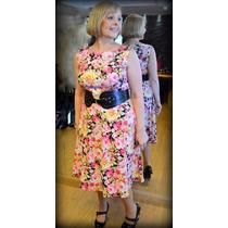 Vestido Falda Campana Fruncida Estampado