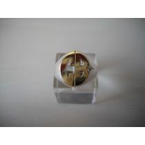 Anillo Sello Letras Calado Oval En Plata 925 Y Oro 18k.