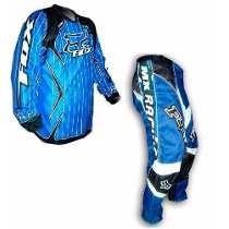 Conjunto Motocross Fox Pantalon + Buzo Azul Enduro Atv Cross