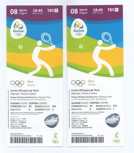Entrada Juegos Olímpicos Río 2016 Tenis 08/08 18:45hs.