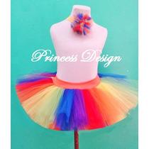 Disfraz Princesa Tutu Bailarina Hada Con Vincha Arcoiris
