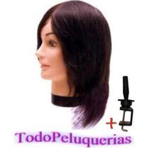 Muñeca P/ Peinados * Cabeza Maniqui Pelo Sintetico + Soporte