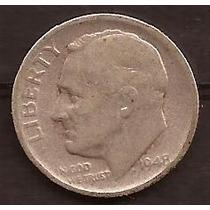 Moneda De Plata 1948 Estados Unidos 1 Dime Usada