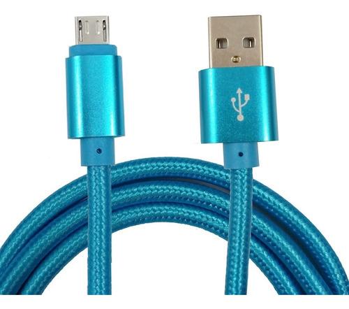 Cable Reforzado Datos Y Carga Tipo Micro Usb X 1mts Aquaflex