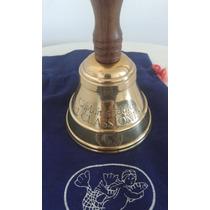 Campana Llamador De Bronce Y Madera