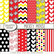 Kit Imprimible Pack Fondos Mickey Mouse 2 Clipart