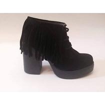 Botita Zapato Acordonado Con Flecos Plataforma Stampa Woman