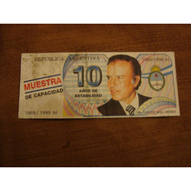 Argentina Billete De Propaganda De Carlos Menem (c2)